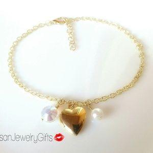 Tiny Gold Heart Locket Pearl Anklet